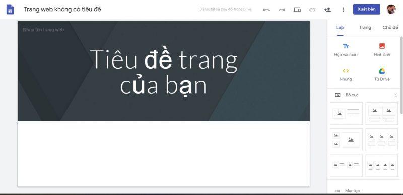 thiết kế website mỹ phẩm bằng google site